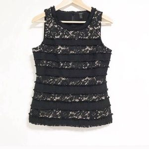 JCrew. Lace and fringe stripes panel tank top.